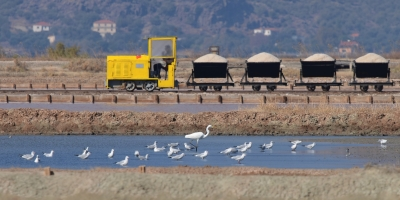 Salt harvest at Polichnitos Salt Pans Lesvos Greece